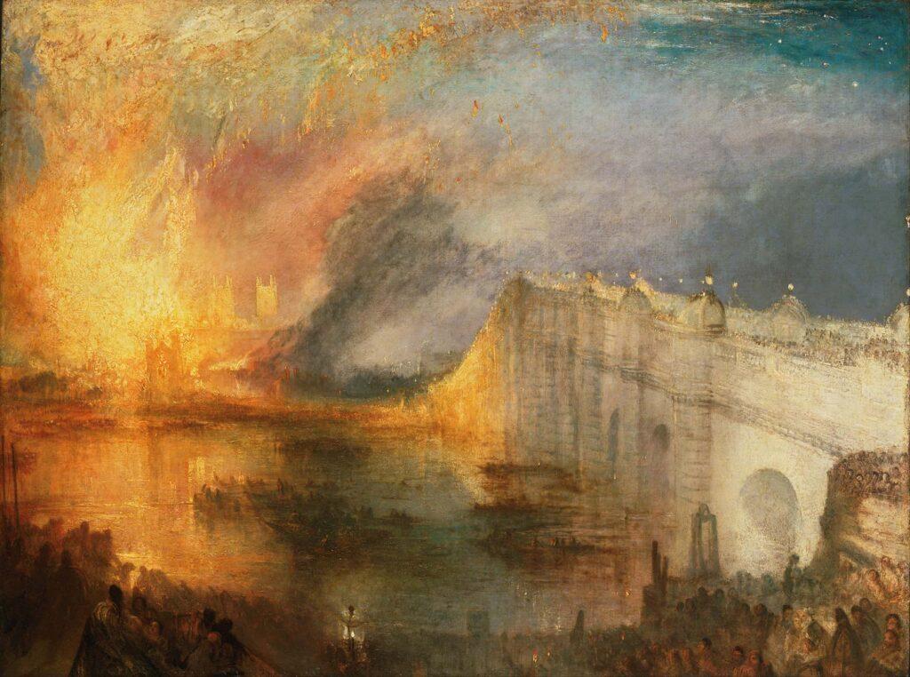 Joseph Mallord William, L'Incendie de la Chambre des lords et des communes, 1835